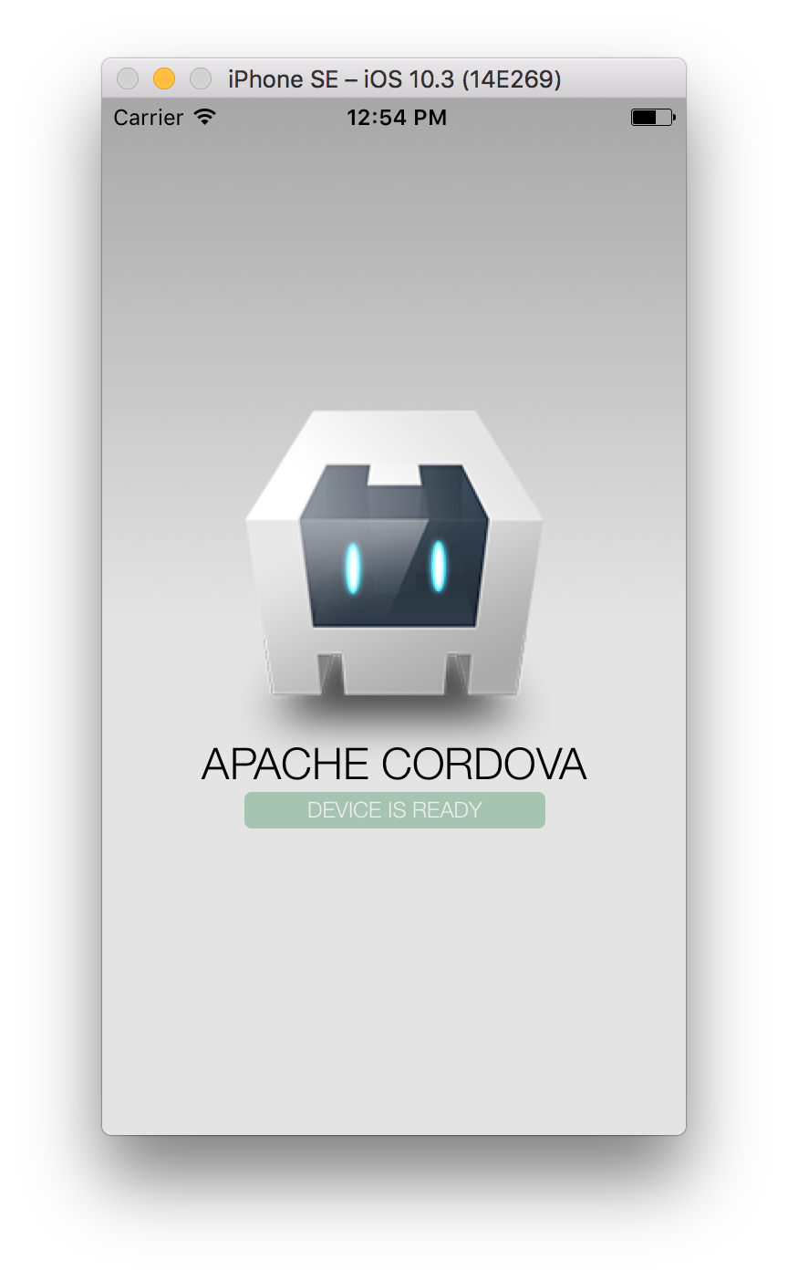 iPhone simulator running Cordova app