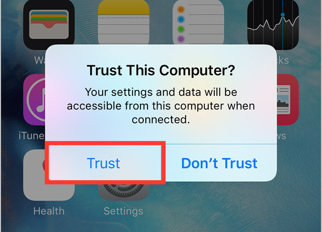 iPhone: trust this computer alert