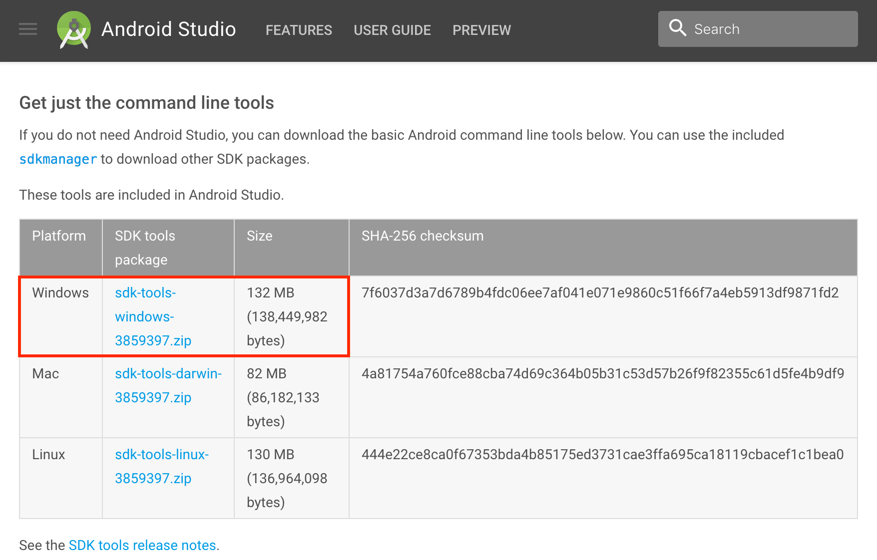 Android SDK tools download page