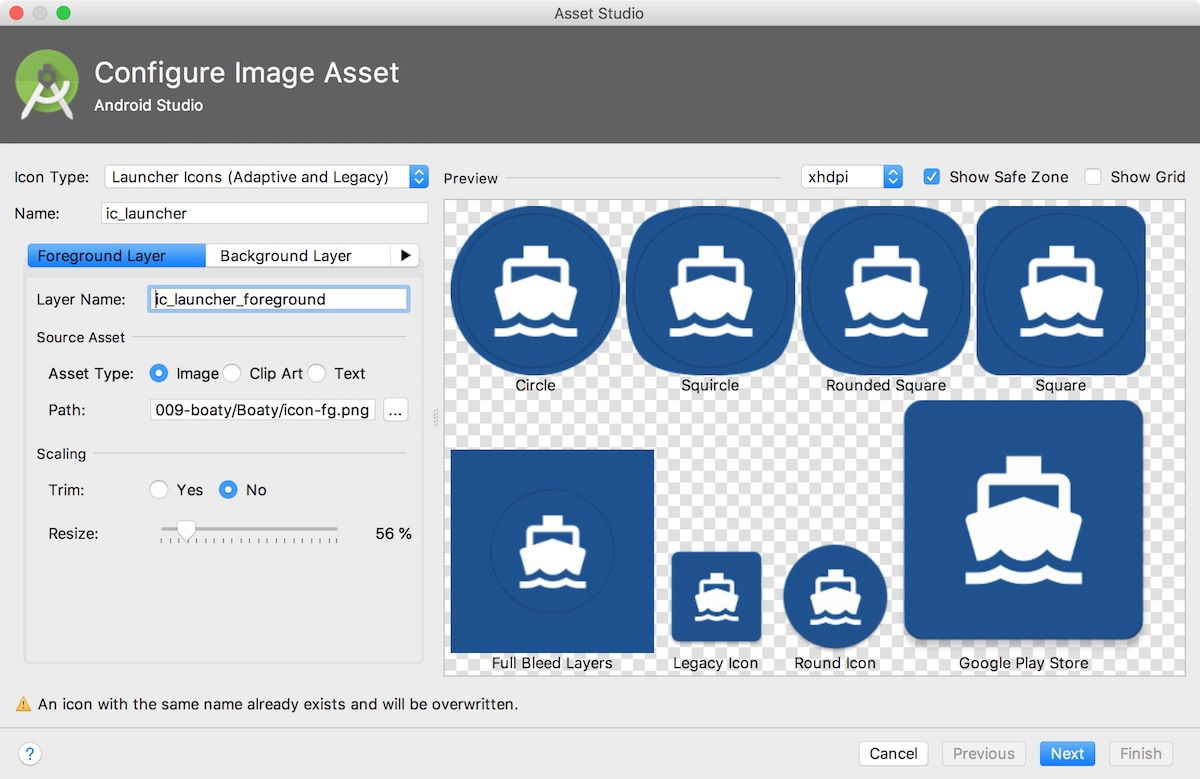 Screenshot of icon configured in Asset Studio